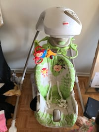 white, green and gray Fisher-Price cradle n swing