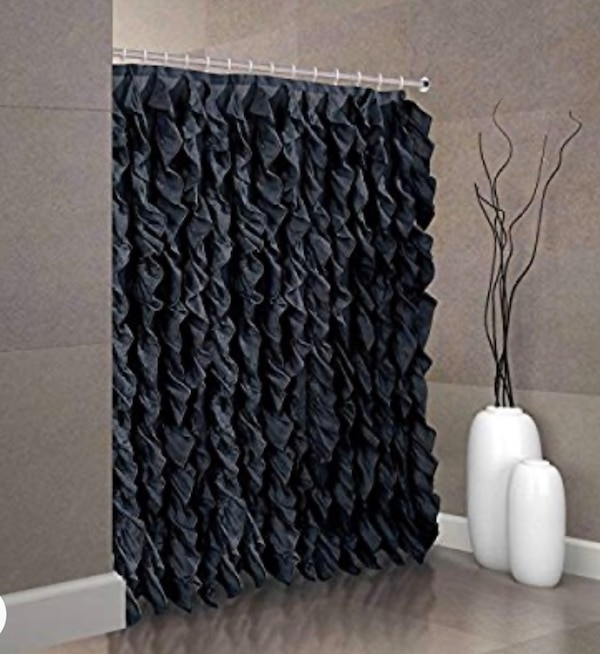 Waterfall Chic Black Shower Curtain w/Hooks 672e2d3d-bc9b-4d4b-9615-3c4efbbbc68f
