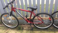 red and black hardtail mountain bike