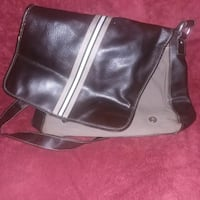 Leather tote bag brown and black 641 mi