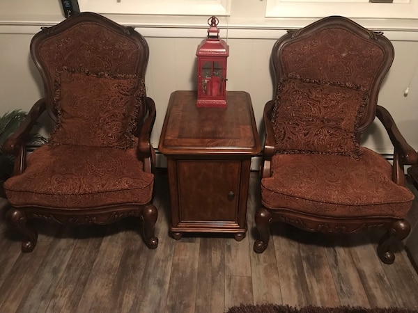 2 Chairs and a set of side tables