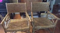 Two brown leather/ratan chairs Stafford, 22554