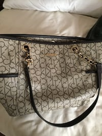 black and gray monogrammed Michael Kors leather tote bag Gray, 70359
