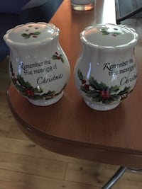 two white-and-green quote and leaf printed ceramic containers Edmonton, T5C 1Z8