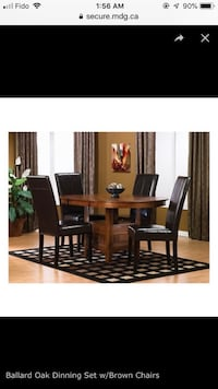 Ballard Oak Dining Set with Brown Chairs