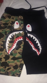 black and brown camouflage A Bathing Ape shark pants