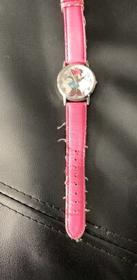 round silver analog watch with pink leather strap Washington