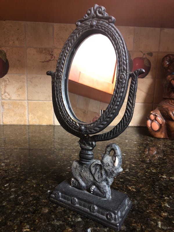 "Vtg Cast Iron Vanity Mirror 12"" tall  2"