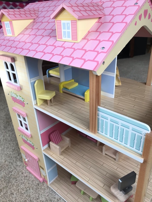 Used Kidkraft Swivel All Wood Doll House With Furniture For Sale In
