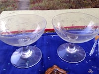 Set of engraved glass footed wine glasses Takoma Park, 20912