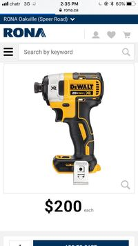 Yellow and black dewalt cordless power drill Mississauga, L4Y 2B8