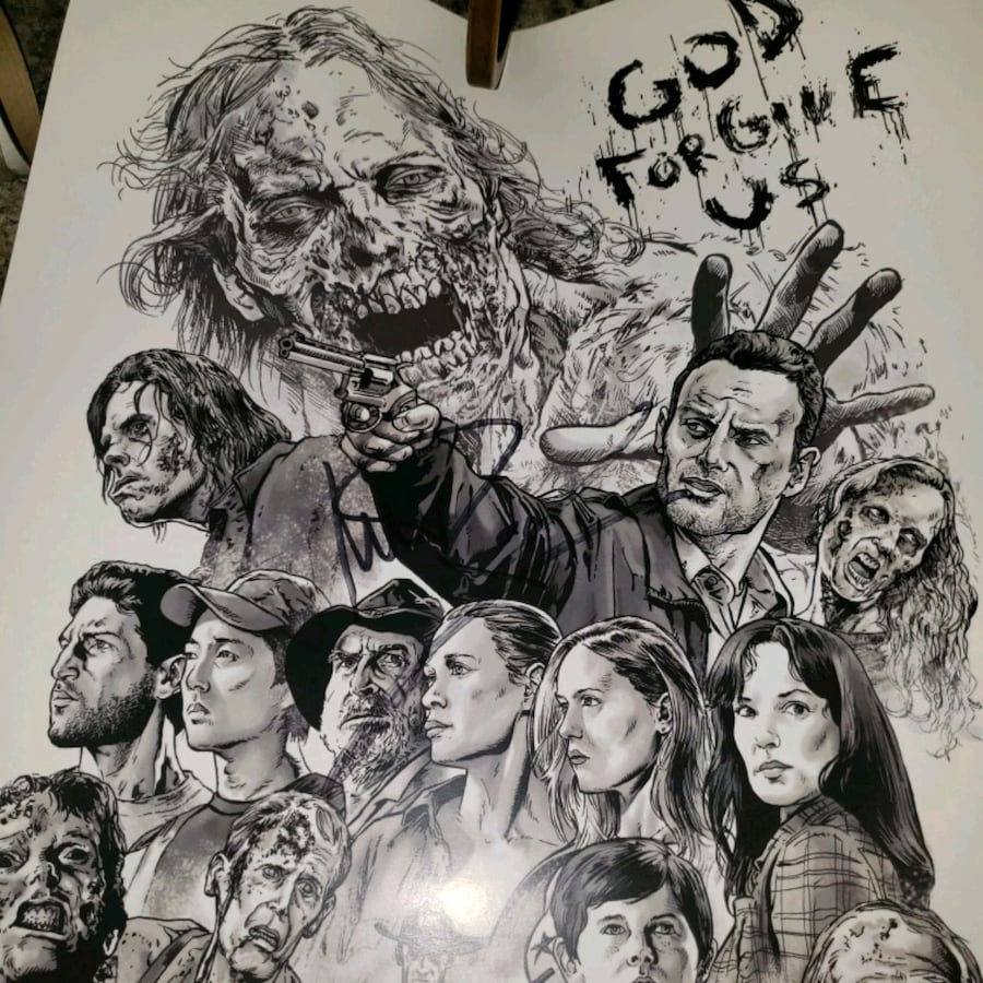 The walking dead signed print