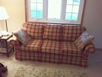 Broyhill plaid fabric 3-seat sofa $825 new.