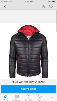 black and red zip-up bubble jacket Toronto, M3M 2P8