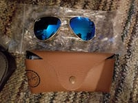 brass framed blue ray-ban sunglasses with brown leather case Barrie, L4N 4V2
