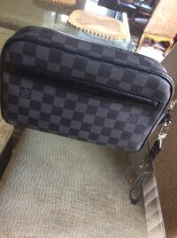 black and gray Louis Vuitton leather bag