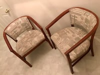 two brown wooden framed white padded armchairs Glen Burnie, 21060
