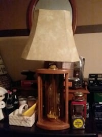 brown wooden base white shade table lamp Minot, 58703
