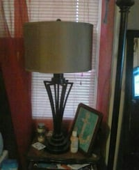 black desk lamp with grey lampshade