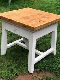 Large Pottery Barn Reclaimed Wood Top End Table/ Night Stand