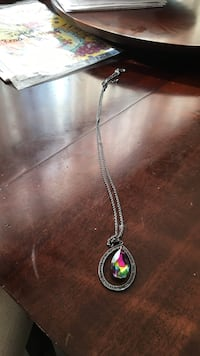 silver-colored necklace with multicolor teardrop gemstone Ottawa, K1G