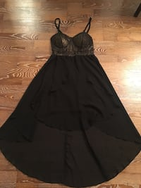 Stunning gold + black mid-length dress for sale - size small