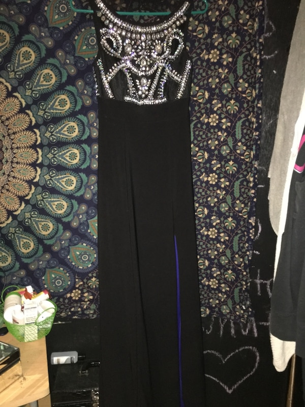 Used Long Black Prom Dress With Back Cut Out For Sale In St