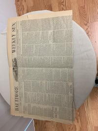 1870 copy of Baltimore Weekly Sun Bowie, 20720