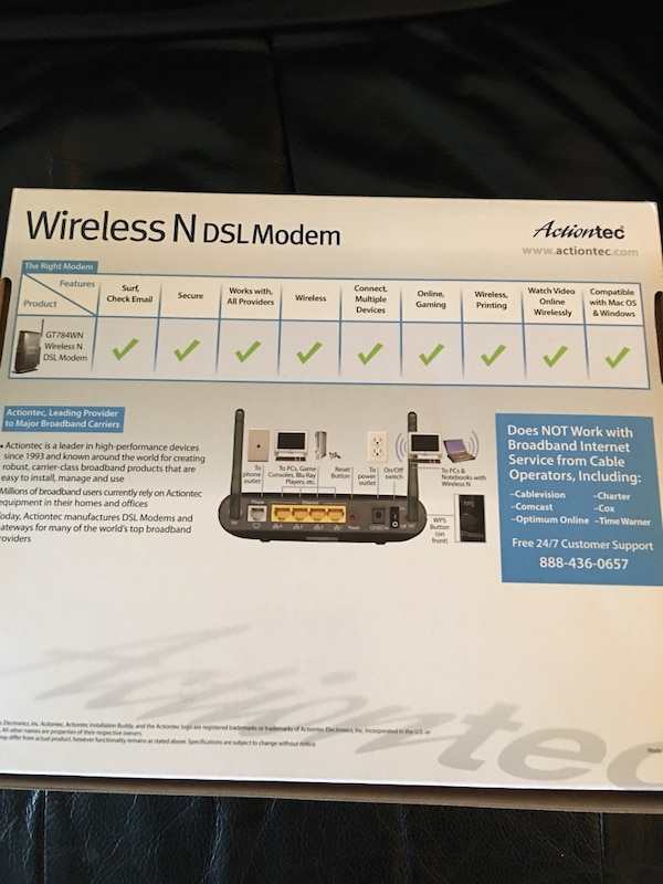 Black Action tec wireless N DSL modem box