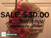 red daisies and brown burlap wreath Stoney Creek, L8G 1C3