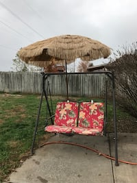 Swing set and umbrella with base