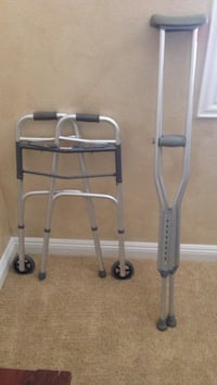 gray walking frame and underarm crutches Las Vegas, 89135