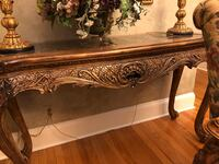 Drexel heritage gently used console table with black marble inlay Northport, 11768