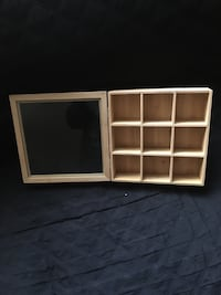Wooden box with glass display - Square 9 1/2""