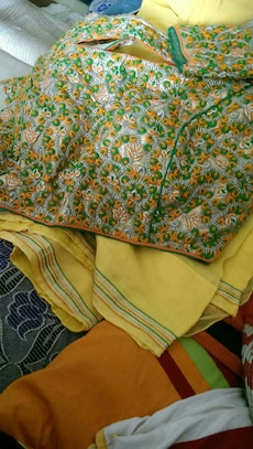 green and yellow floral scarves