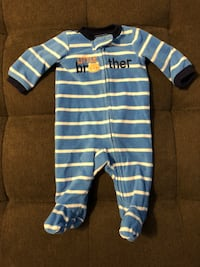 Newborn little brother fleece footie pajamas. Burnaby, V5A