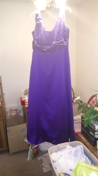Purple sleeveless Davids Bridal Dress