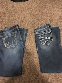 two blue and black denim jeans Calgary, T3B 2R4
