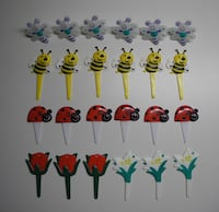 Lot of 24 Bees Ladybugs Flowers Butterflies Cupcake Toppers Sticks