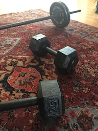 Black dumbbells (25lbs each) and barbell (10lbs each x4) Chicago