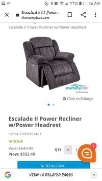 Brand new electric recliner & head rest, retail 530.00