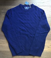 NEW Mens Vineyard Vines Wool Cashmere Navy Cable Knit Sweater Small Chicago, 60611