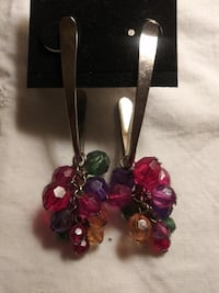 Vintage 80's Silver Post Earrings with Bead Clusters