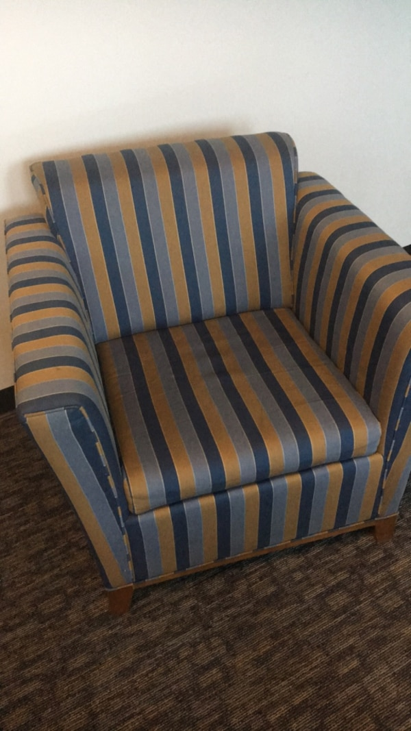 Blue And Brown Striped Fabric Sofa Chair