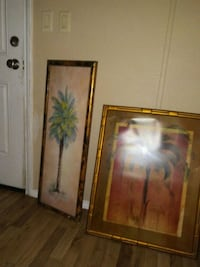 two tree paintings with brass-colored frames Universal City, 78148