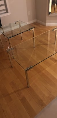 Rectangular clear glass top coffee table with stainless steel frame Laval, H7T 1V7