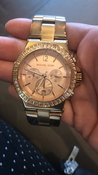 Round gold michael kors chronograph watch with gold link bracelet Whitby