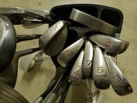 17 Golf Clubs w/Bag and Pull cart Frederick