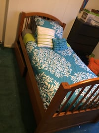 Brown wooden twin bed frame with mattress and drawers  Pittsburgh, 15213