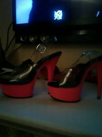 pair of red leather open-toe heeled sandals Edmonton, T5K